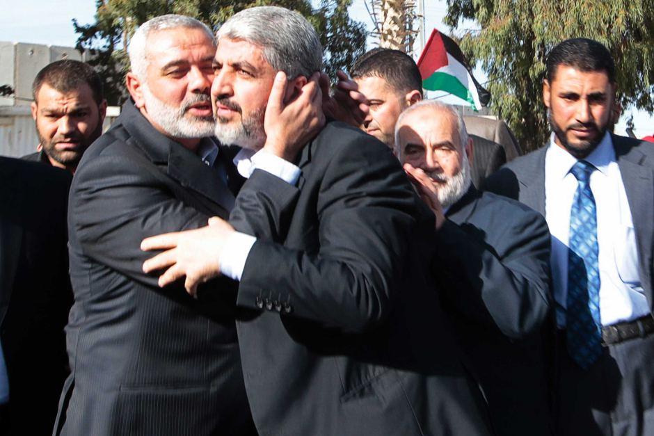 Ismaíl Haniyeh y Jaled Meshal, líderes de Hamás.