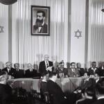 Ben Gurión proclamando la independencia de Israel.