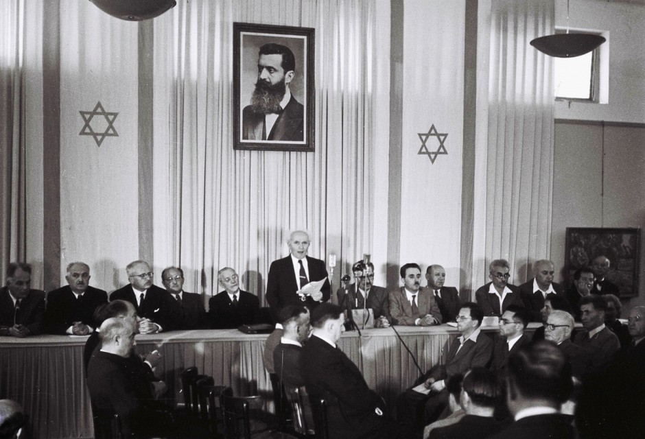 <i>Ben Gurión proclamando la independencia de Israel.</i>