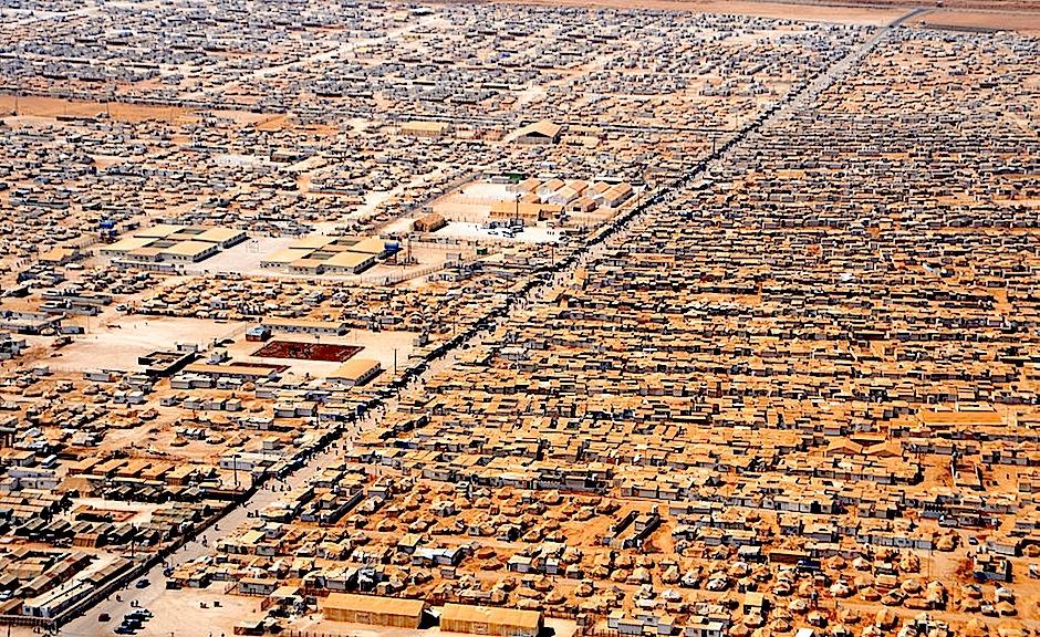 Panorámica del campo de refugiados sirios de Zaatri (Jordania).