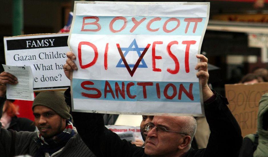 Manifestantes pro BDS.
