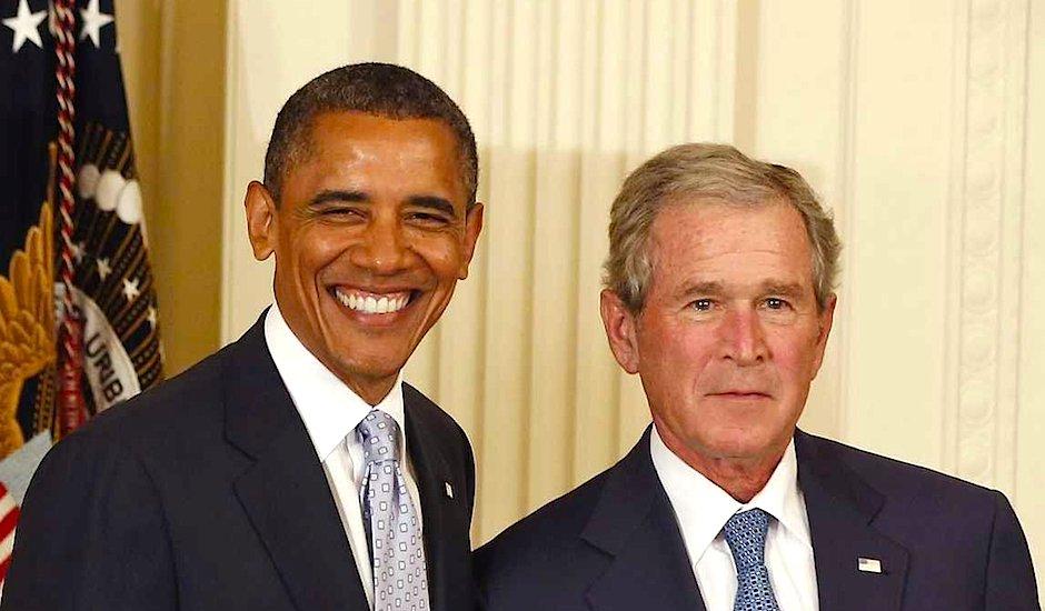 Obama y Bush.