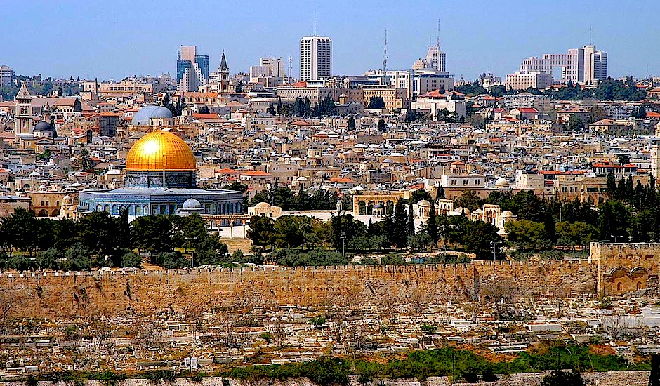 Jerusalén. El Monte del Templo, desde el Monte de los Olivos.