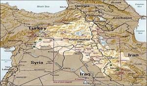 Mapa del Kurdistán.