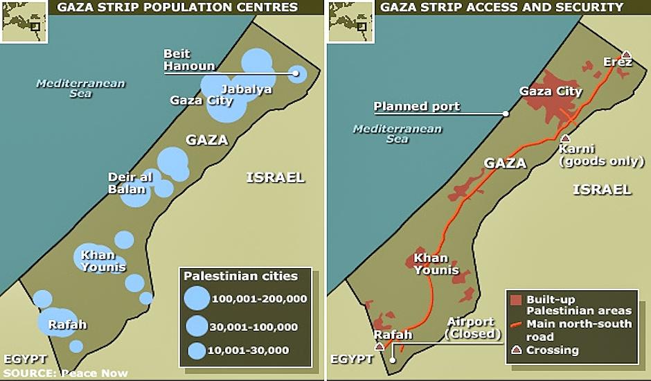 mapa gaza