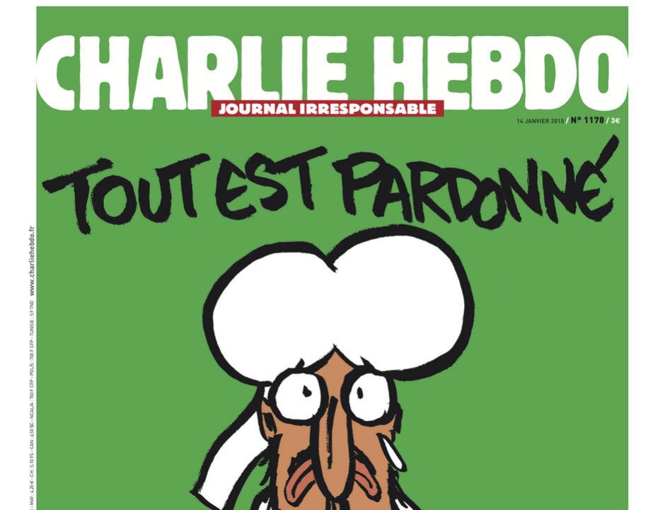 Portada del número de Charlie Hebdo posterior a la matanza terrorista en su redacción.