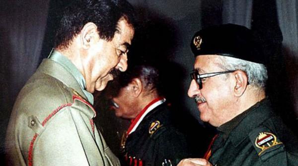 Sadam Husein y Tarek Aziz.