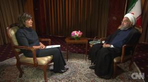 Christiane Amanpour y Hasán Ruhaní.