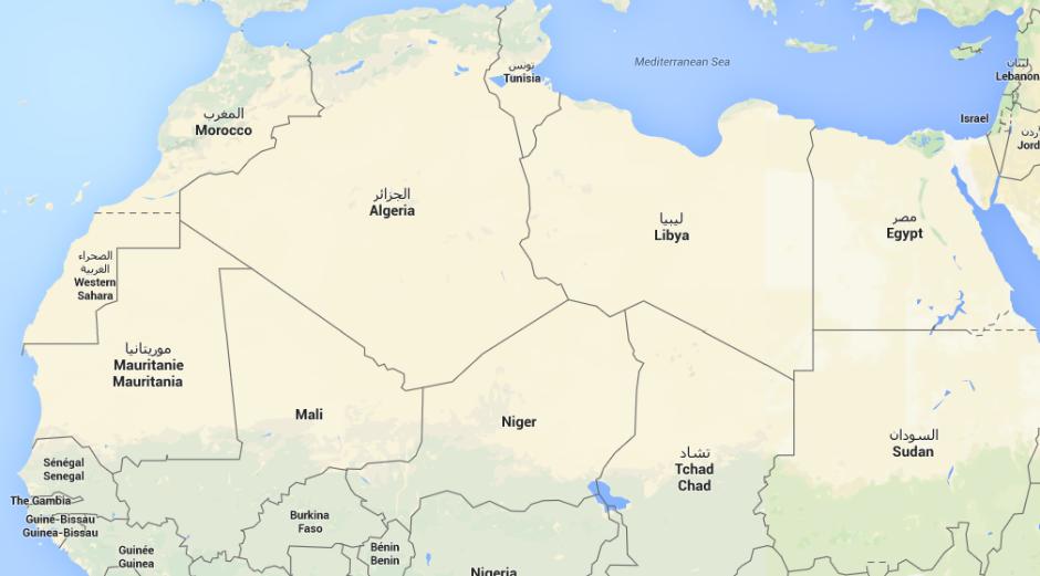 Mapa del Magreb.