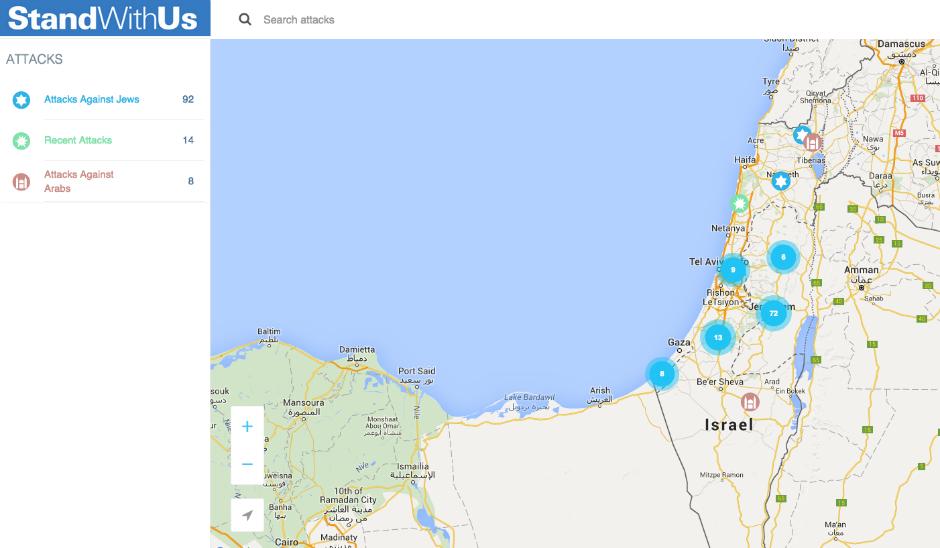 Mapa interactivo con ataques terroristas y de odio (octubre de 2015).