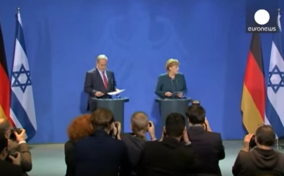 Benjamín Netanyahu y Angela Merkel.