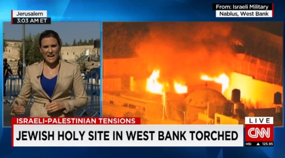 La Tumba de José, incendiada por turbas palestinas (15 OCT 15).
