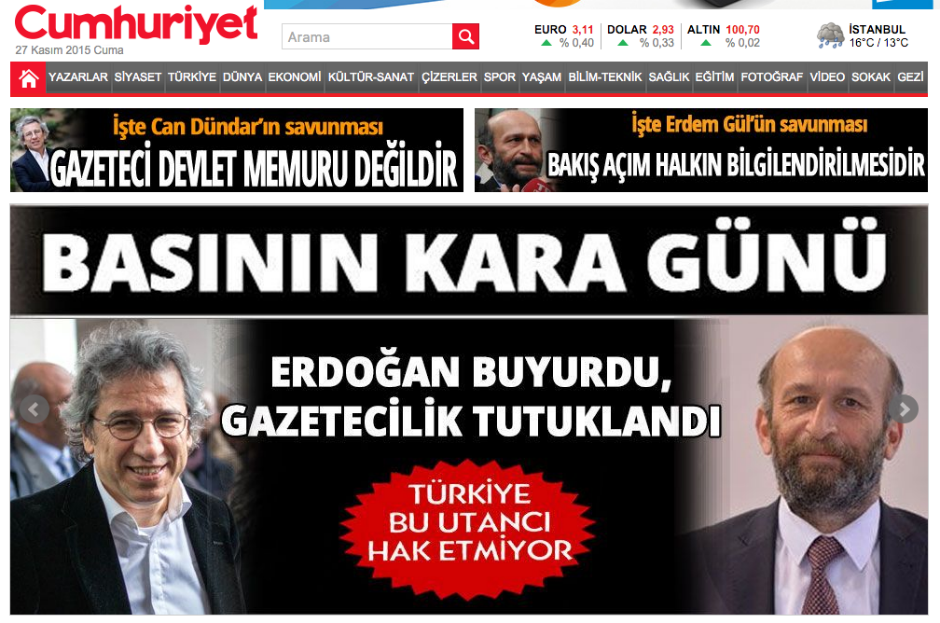 Turquía. Portada del diario 'Cumhuriyet'.