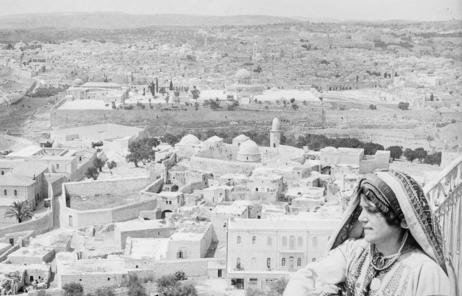 Jerusalén, desde el Monte de los Olivos, en 1918. (Library of Congress).