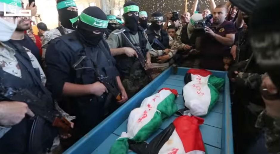 Terroristas de Hamás, en el funeral de los niños de la familia Abu Hindi (7 MAY 16).