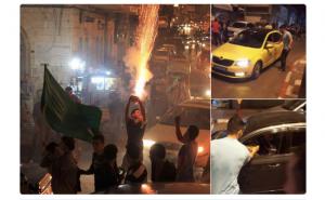 Palestinos celebrando la matanza terrorista de Sarona Market (Tel Aviv), 8 JUN 16.