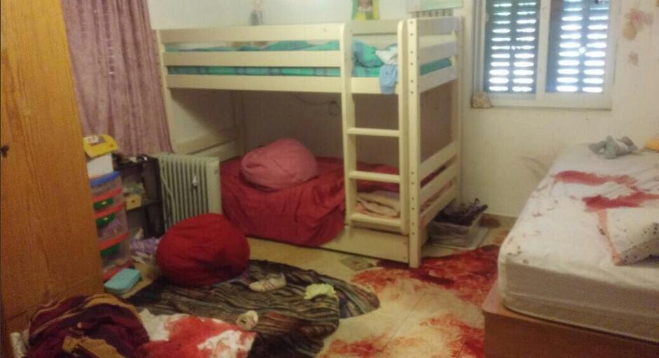 Estado en que quedó la habitación de la niña israelí Halel Yafa tras el ataque terrorista palestino que le costó la vida (30 JUN 16).