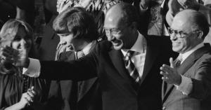 Anuar Sadat y Menájem Béguin, en el congreso de EEUU (18 SEP 78).