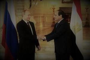 Banderas de Rusia y Egipto, con sus presidentes
