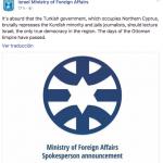 Tremendo zasca de Israel al régimen 'neoimperialista' turco