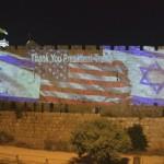 Las murallas de Jerusalén dan las gracias al presidente Trump
