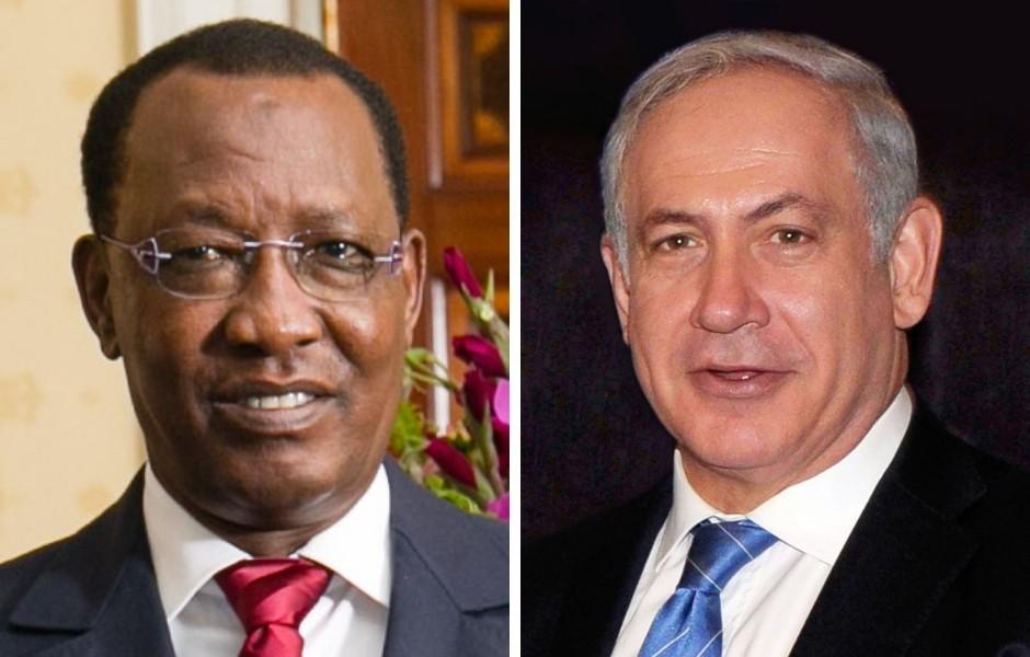 Idris Déby, presidente de la Repçublica del Chad, junto con Benjamín Netanyahu (primer ministro de Israel)